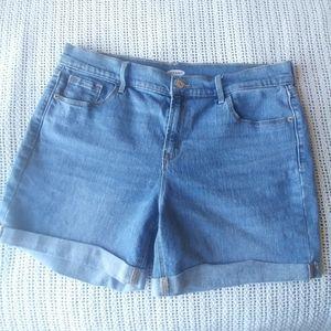 Old Navy Cuffed Medium Wash Stretch Jean Shorts